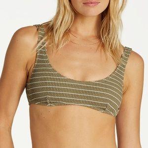 Billabong Summer High Smocked Green Bikini Top S
